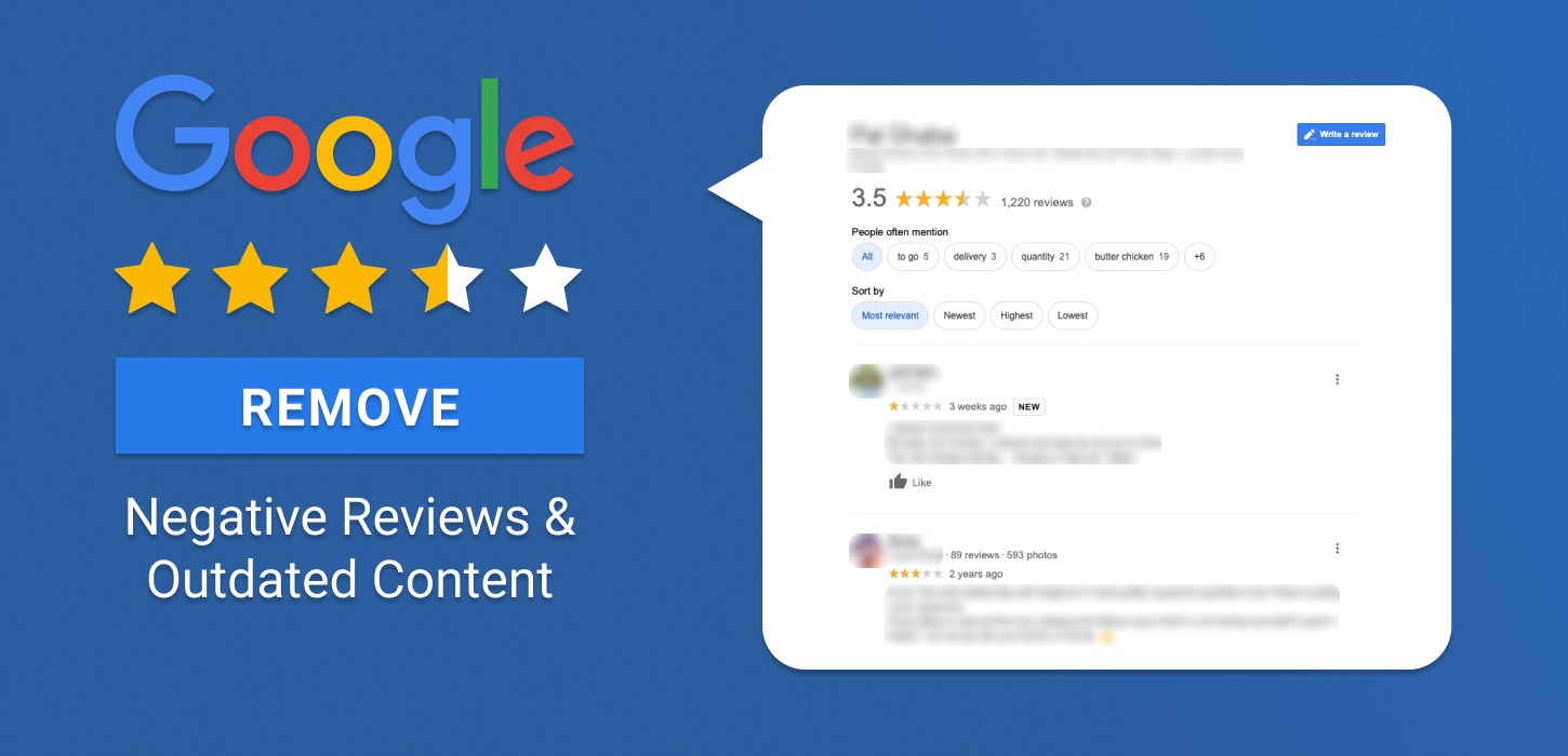 Remove negative reviews and outdated content
