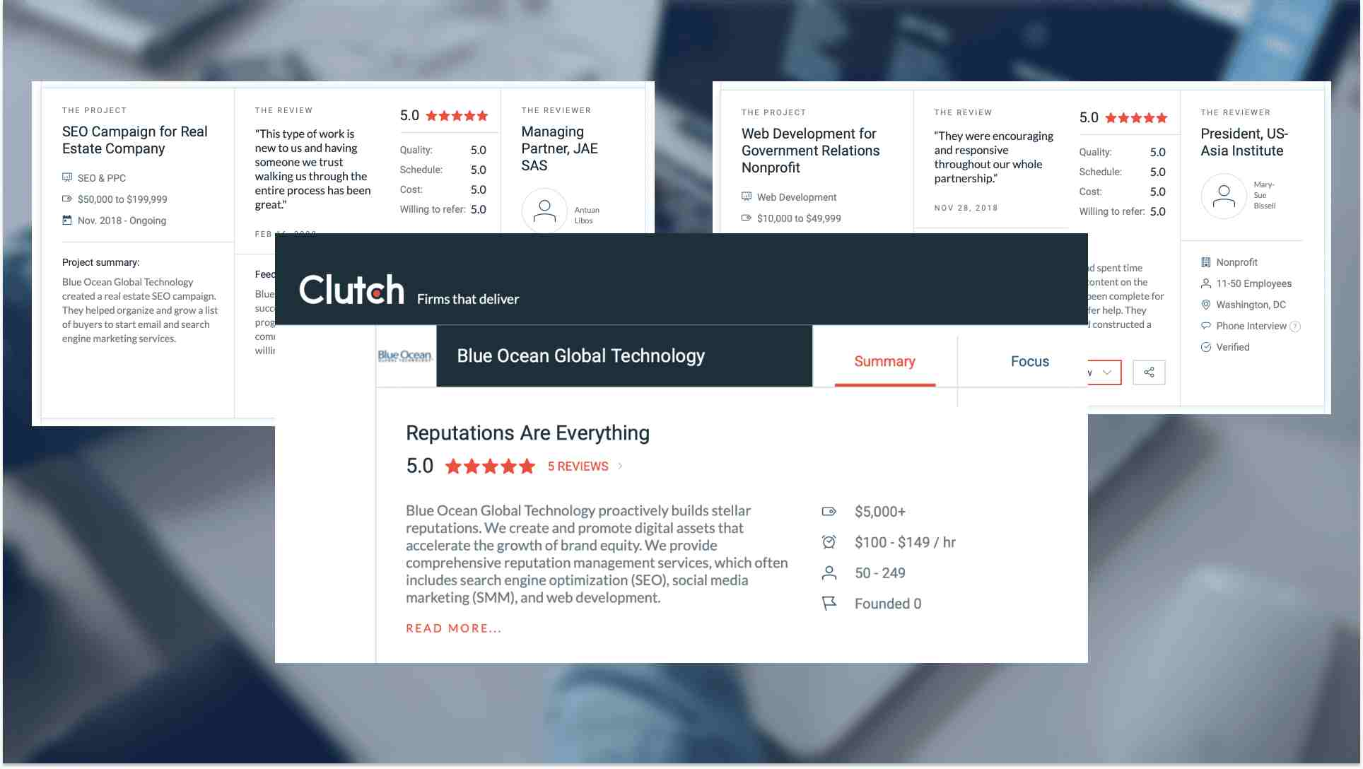 Blue Ocean Global Technology highly rated on Clutch