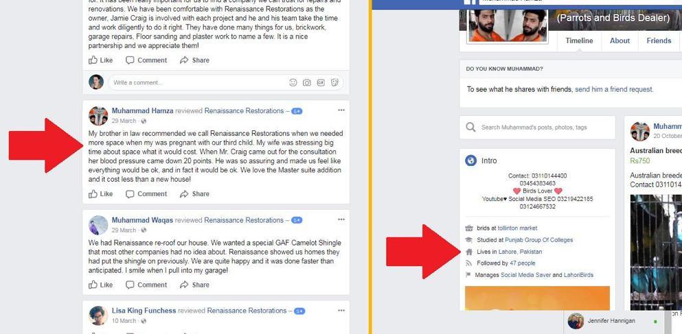 Removing fake facebook reviews