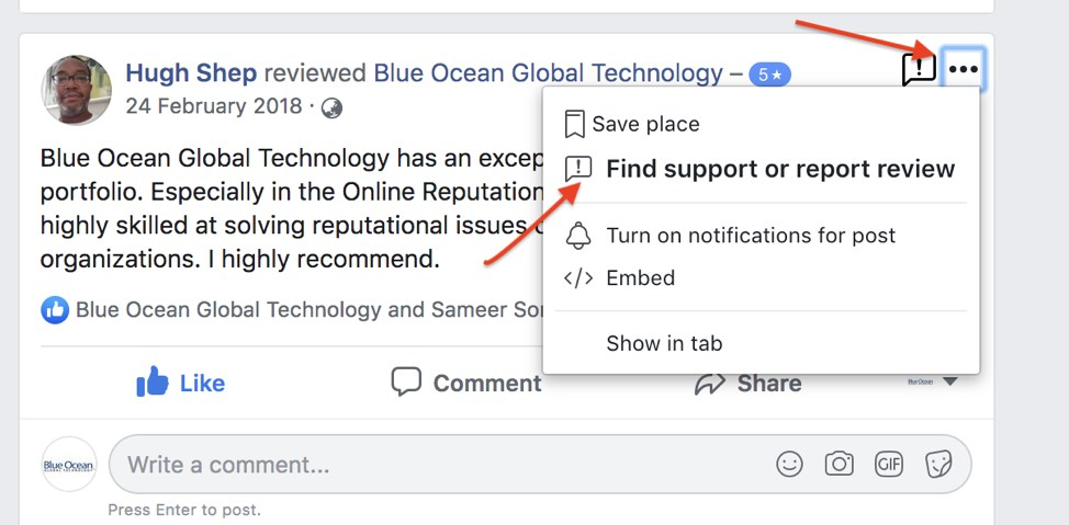Reporting a fake facebook review
