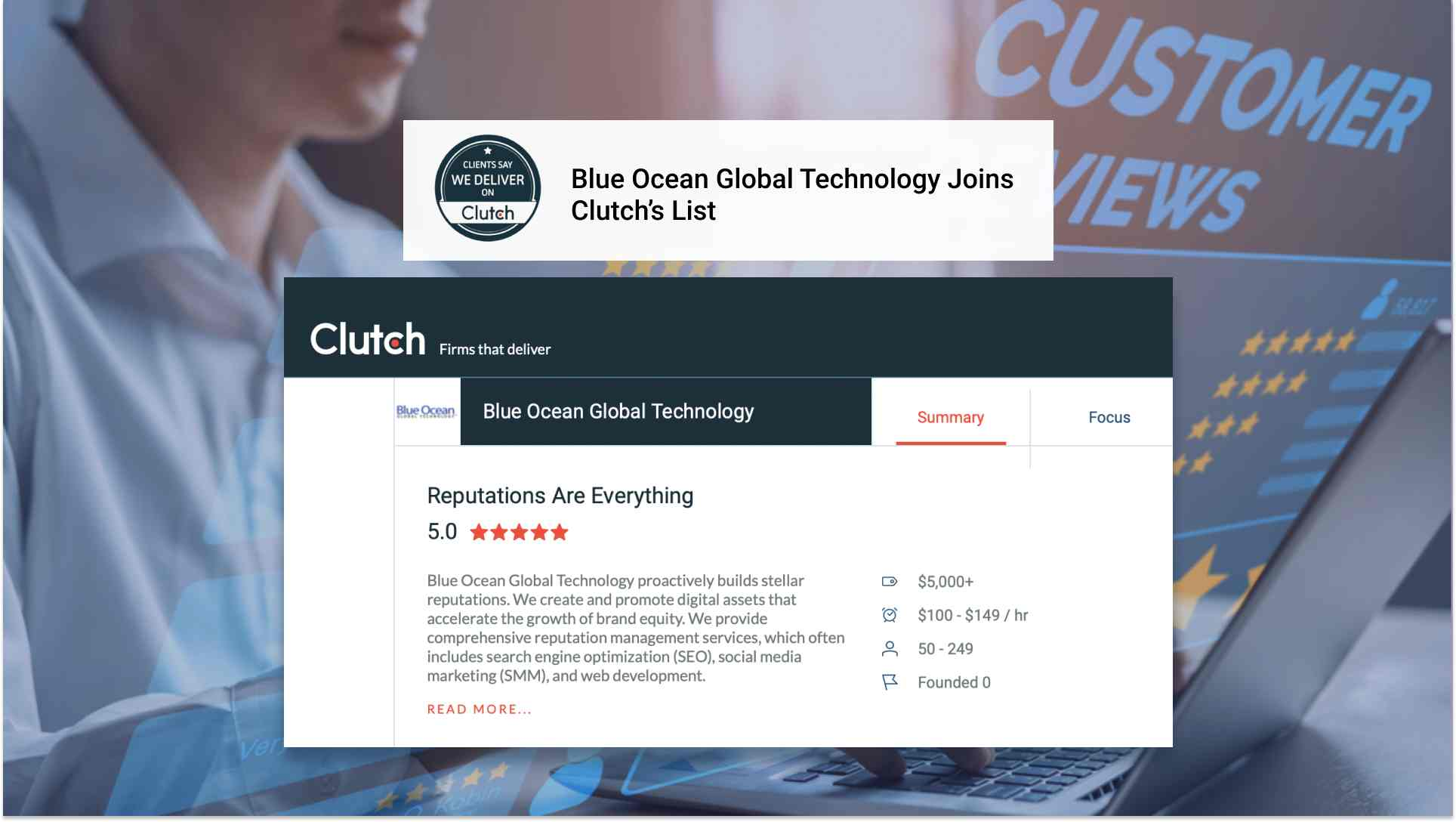Blue Ocean Global Technology Joins Clutch's List of Leading SEO Consultants