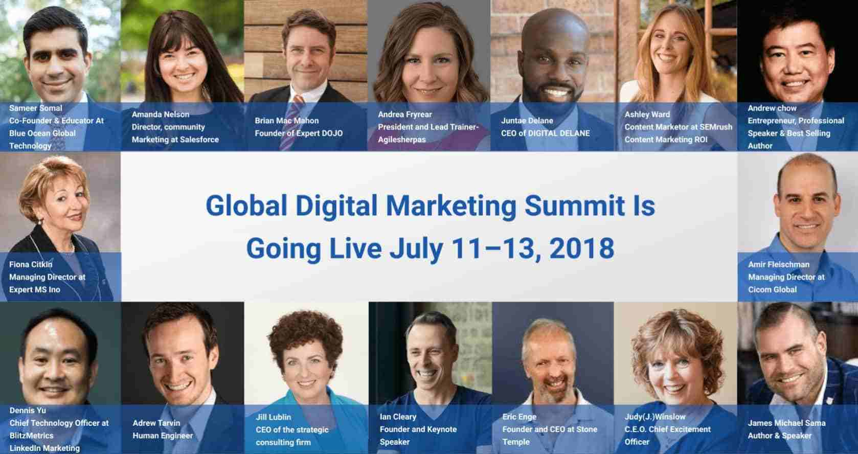 Global Digital Marketing Summit Is Going Live July 11–13, 2018