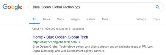 Google search results for Blue Ocean Global Technology